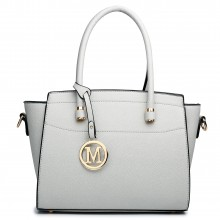 LT1625 - Miss Lulu Leather Look Classic Shoulder Bag Grey