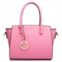 LT1625 - Miss Lulu Leather Look Classic Shoulder Bag Pink