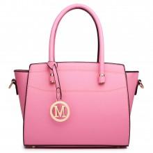 LT1625 - Sac d'épaule en cuir Miss Lulu style classique en rose