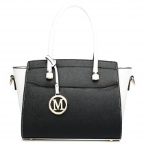 LT1625 - Miss Lulu Leather Look Classic Shoulder Bag White And Black