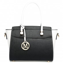 LT1625 - Sac d'épaule en cuir Miss Lulu style classique en blanc et noir