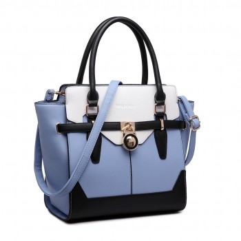 LT1646 - Miss Lulu Leather Look Padlock Tote Handbag Blue