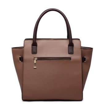 LT1646 - Miss Lulu Leather Look Padlock Tote Handbag Brown