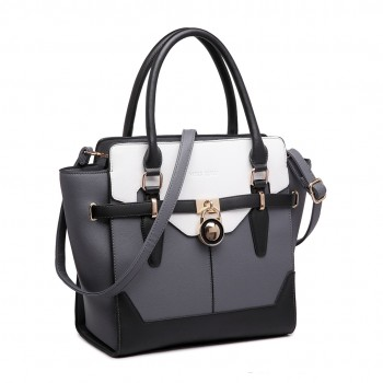 LT1646 - Miss Lulu Leather Look Padlock Tote Handbag Grey