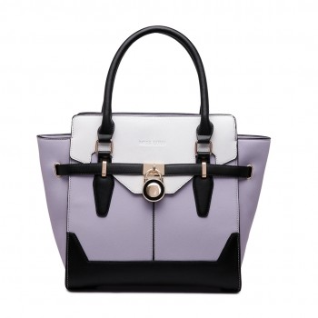 LT1646 - Miss Lulu Leather Look Padlock Tote Handbag Lilac