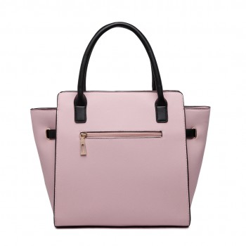 LT1646 - Miss Lulu Leather Look Padlock Tote Handbag Pink