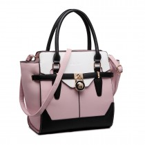 LT1646 - Miss Lulu Leather Look Padlock Tote Handbag Pink