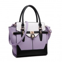 LT1646 - Miss Lulu Leather Look Padlock Tote Handbag Purple
