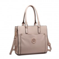 LT1650 - Miss Lulu Textured Leather Look Square Pocket Shoulder Handbag Beige