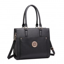 LT1650 - Miss Lulu Textured Leather Look Square Pocket Shoulder Handbag Black