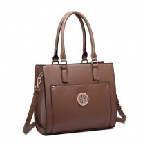 LT1650 - Miss Lulu Textured Leather Look Square Pocket Shoulder Handbag Brown