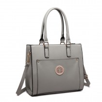 LT1650 - Miss Lulu Textured Leather Look Square Pocket Shoulder Handbag Grey