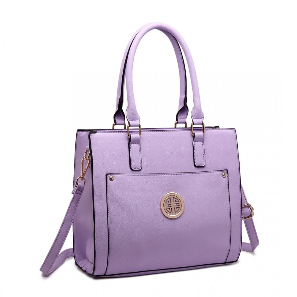 fbea73e2a45c1 LT 1650 - Miss Lulu strukturiertem Leder-Platz Tasche Handtasche Lila  Schulter schauen