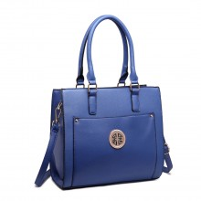 LT1650 - Miss Lulu Textured Leather Look Square Pocket Shoulder Handbag Navy