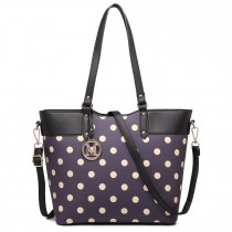 LT1653 - Miss Lulu Leather Look and Matte Oilcloth Polka Dot Tote Bag Purple
