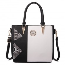 LT1654 - Miss Lulu Split Front Snake print Tote Bag Black And White