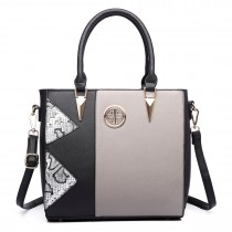 LT1654 - Miss Lulu Split Front Snake Print Tote Bag black and gray