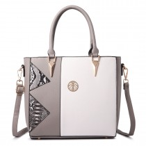 LT1654 - Miss Lulu Split Front Snake Print Tote Bag Grey and White