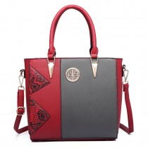 LT1654 - Miss Lulu Split Front Snake Print Tote Bag red