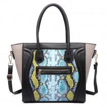 LT1659 - Miss Lulu Structured Leather Look Snakeskin Smile Handbag blue
