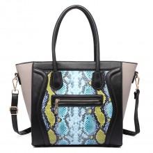 LT1659 - Mlle Lulu structuré cuir Look Snakeskin Smile sac à main bleu