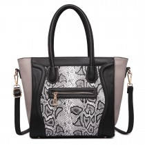 LT1659 - Miss Lulu Structured Leather Look Snakeskin Smile Handbag Black