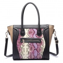 LT1659 - Miss Lulu Structured Leather Look Snakeskin Smile Handbag purple