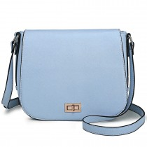 LT1662 - Miss Lulu Leather Look Cross Body Saddle Bag Blue