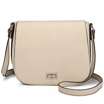 LT1662 - Miss Lulu Leather Look Cross Body Saddle Bag Beige