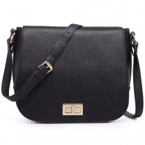 LT1662-MISSLULU PLAIN PU SMALL SATCHEL BLACK
