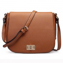 LT1662 - Miss Lulu Leather Look Cross Body Saddle Bag Brown
