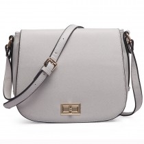 LT1662-MISSLULU PLAIN PU SMALL SATCHEL GREY