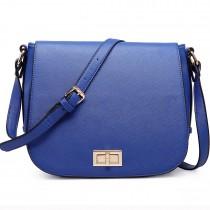 LT1662 - Miss Lulu Leather Look Cross Body Saddle Bag Navy