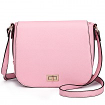 LT1662 - Miss Lulu Leather Look Cross Body Saddle Bag Pink