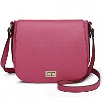 LT1662 - Miss Lulu Leather Look Cross Body Saddle Bag Plum