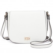 LT1662 - Miss Lulu Leather Look Cross Body Saddle Bag White