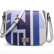 LT1663- MISS LULU Patchwork Printed Small Cross-Body Shoulder Handbag BLUE
