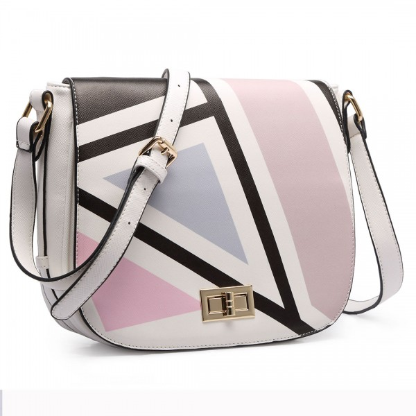 LT1663- Miss Lulu Patchwork Printed Small Cross Body Shoulder Handbag Black