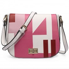 LT1663- Miss Lulu Patchwork Printed Small Cross Body Shoulder Handbag Pink