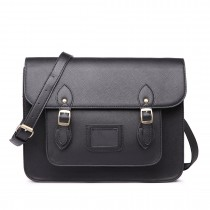 LT1665-MISS LULU PU LEATHER LARGE  CAMBRIDGE STLYE SATCHEL BAG BLACK