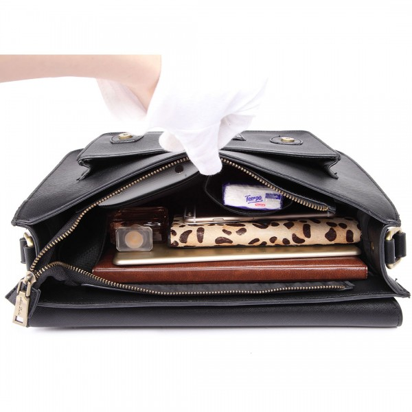 LT1665 - Miss Lulu Plain Leather Look School Work Satchel Black