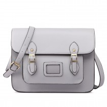 LT1665-MISS LULU  PU LEATHER LARGE  CAMBRIDGE STLYE SATCHEL BAG  GREY