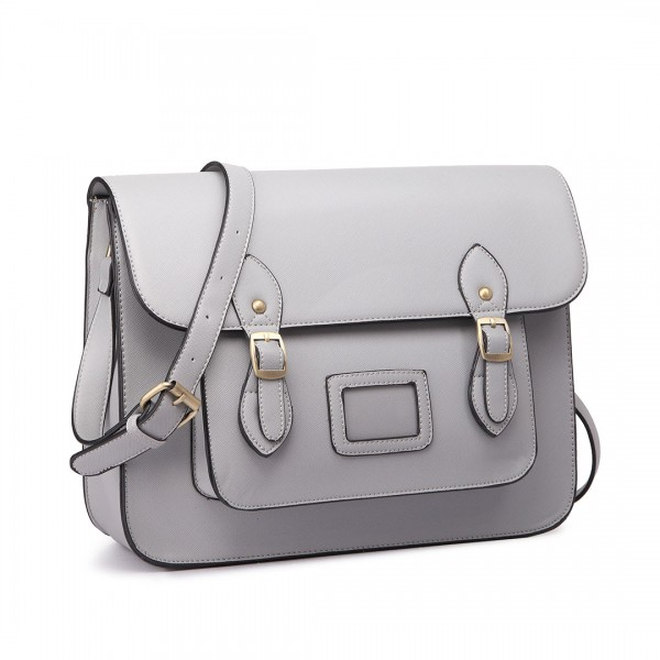 LT1665 - Miss Lulu Plain Leather Look School Work Satchel Grey