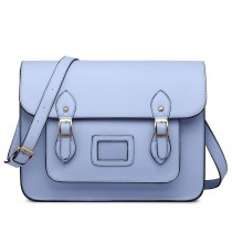LT1665-MISS LULU  PU LEATHER LARGE  CAMBRIDGE STLYE SATCHEL BAG  LIGHT BLUE