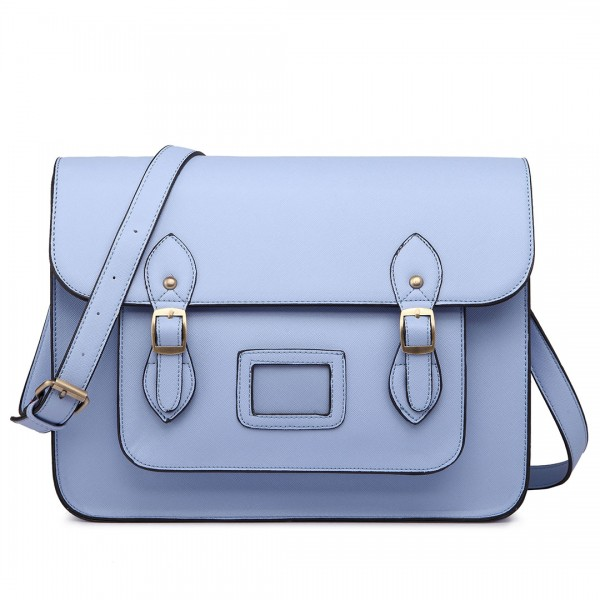 LT1665 - Miss Lulu Plain Leather Look School Work Satchel Light Blue