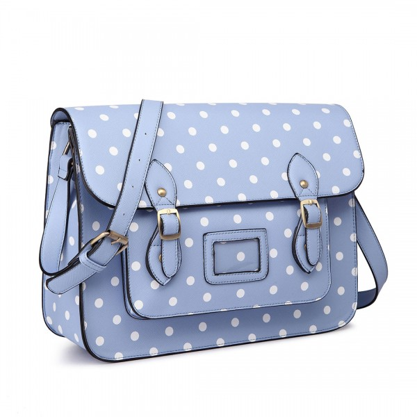 LT1665D2 - Miss Lulu Polka Dot Leather Look School Work Satchel Light Blue