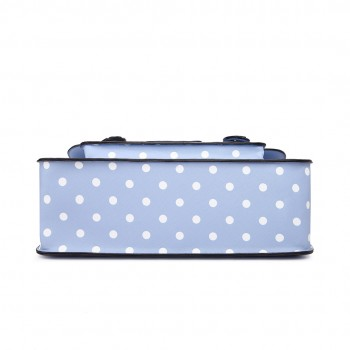 LT1665D2 - Miss Lulu Polka Dot Leather Look School Work Satchel Light Blue