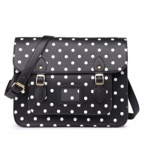 LT1665D2 MISS LULU  PU LEATHER LARGE  CAMBRIDGE STLYE SATCHEL BAG POLKA DOT BLACK