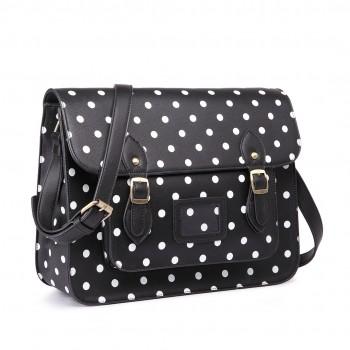 LT1665D2 - Miss Lulu Polka Dot Leather Look School Work Satchel Black