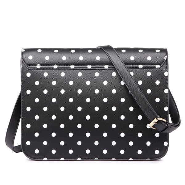 LT1665D2 - Miss Lulu Polka Dot Leather Look School Work Satchel Black